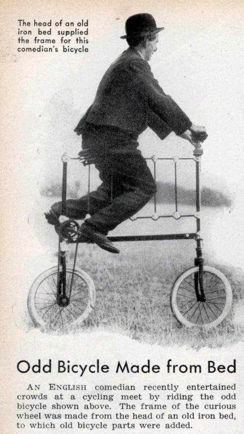 Bicicleta cabezal cama publicada en Popular Science