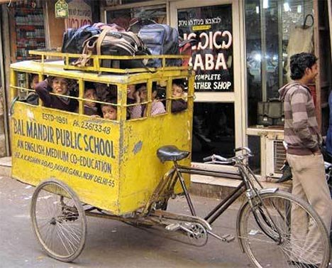 Triciclo para transporte escolar en India