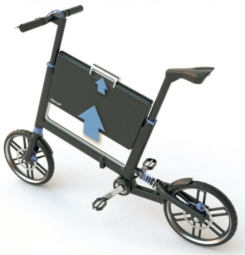 Bicicleta plegable con maletín de Marco Madia