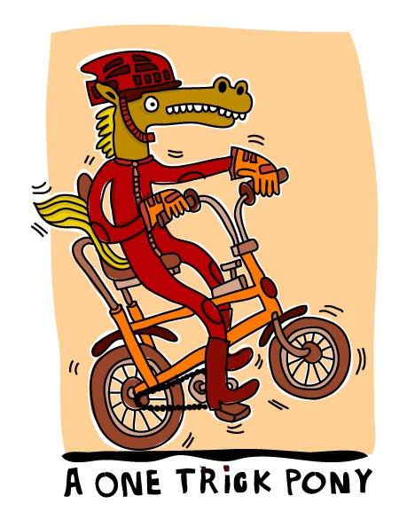 Caballo con manos montando a bicicleta por John Paterson