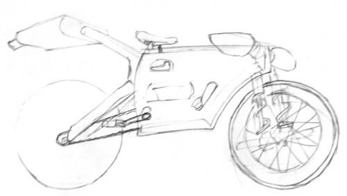Boceto de la bicicleta con piezas de coche